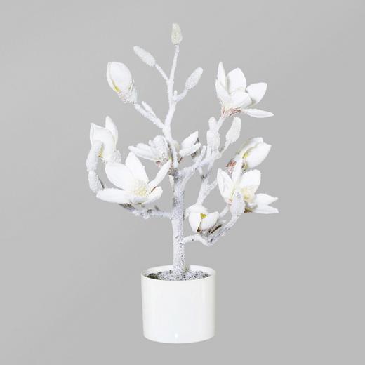 KUNSTBLUME Magnolie - Weiß, Kunststoff/Textil (49cm)
