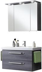 BADEZIMMER Graphitfarben - Graphitfarben/Weiß, Design, Keramik (95cm) - WELNOVA