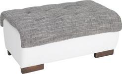 HOCKER in Textil Grau, Weiß  - Wengefarben/Weiß, Design, Holz/Textil (98/43/66cm) - Carryhome