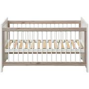 Gitterbett Camron - Weiß/Grau, Natur, Holz/Holzwerkstoff (76,5/80/145cm) - My Baby Lou