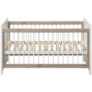 GITTERBETT Camron Buche massiv Grau, Weiß  - Weiß/Grau, Natur, Holz (76,5/80/145cm) - My Baby Lou