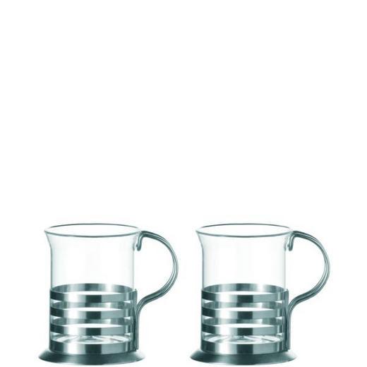 TEEGLAS 2-teilig - Klar/Silberfarben, Basics, Glas/Metall (16.2/10.3/8.2cm) - LEONARDO