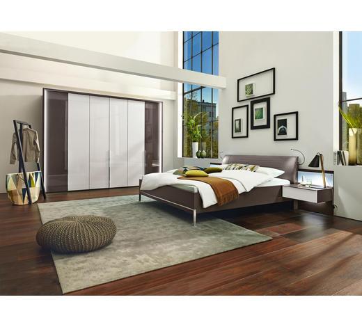 Wandgestaltung Schlafzimmer Grau Tapeten Graues Bett Gold ...