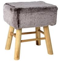 HOCKER in Holz, Textil Grau, Naturfarben  - Naturfarben/Grau, Trend, Holz/Textil (37/27/42cm) - Ambia Home