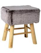 TABURET, borovice, šedá, přírodní barvy - šedá/přírodní barvy, Trend, dřevo/textil (37/27/42cm) - Ambia Home