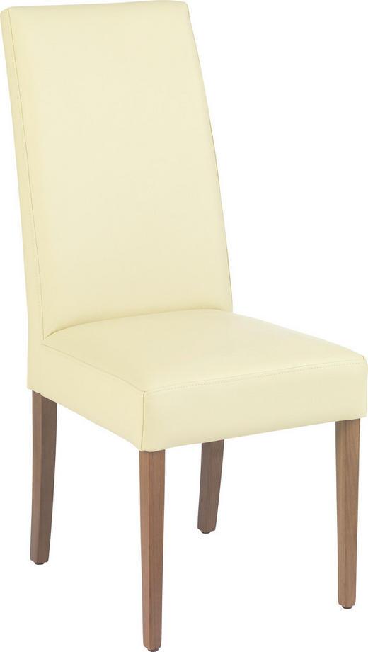 STUHL in Holz, Leder Creme, Nussbaumfarben - Nussbaumfarben/Creme, Design, Leder/Holz (46/107/62cm)