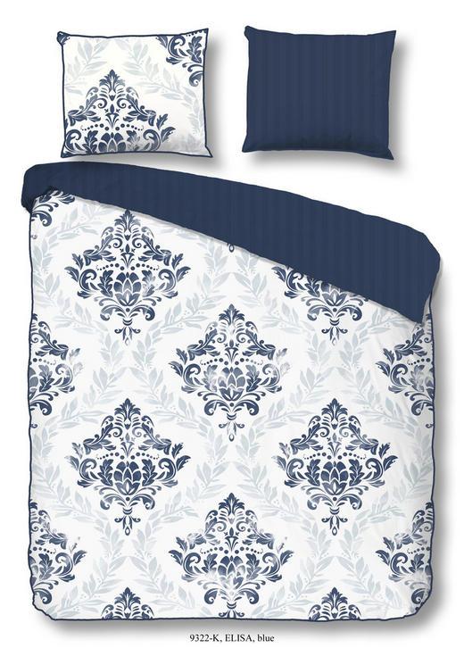 BETTWÄSCHE Satin Blau, Weiß 200/200 cm - Blau/Weiß, Trend, Textil (200/200cm)
