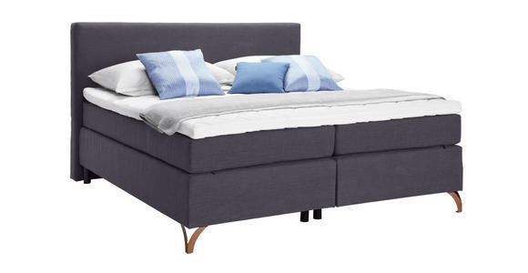BOXSPRINGBETT 180/200 cm  in Anthrazit  - Anthrazit/Kupferfarben, KONVENTIONELL, Textil/Metall (180/200cm) - Esposa