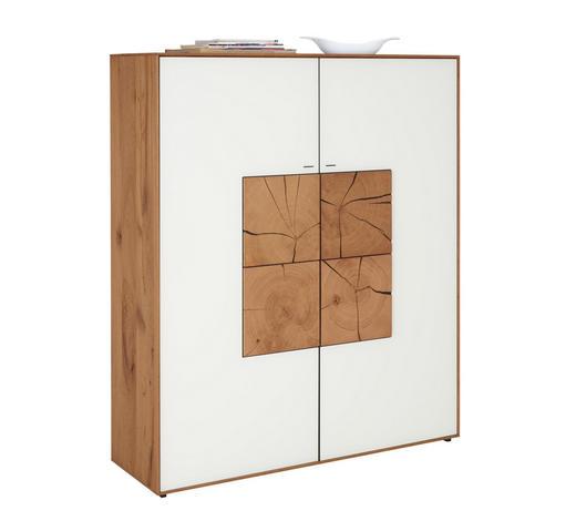 HIGHBOARD 117/138/39 cm  - Weiß, Natur, Glas/Holz (117/138/39cm) - Valnatura
