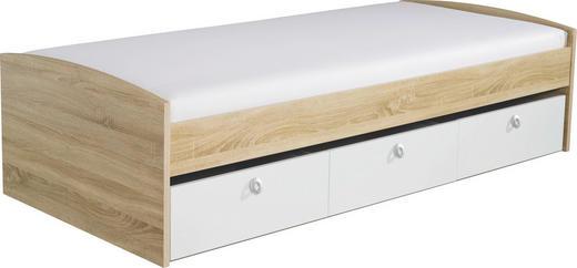STAURAUMBETT 90/200 cm - Eichefarben/Weiß, Design (90/200cm) - CARRYHOME