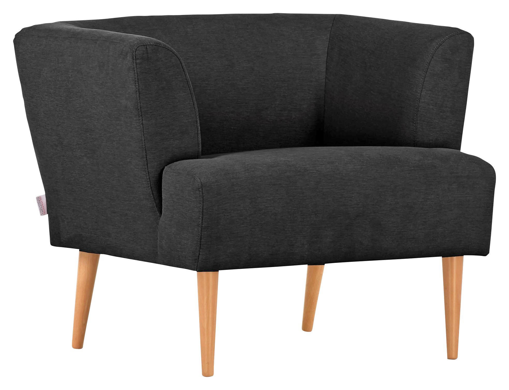SESSEL Flachgewebe Dunkelgrau - Dunkelgrau/Naturfarben, Design, Holz/Textil (85/71/80cm) - HOM`IN