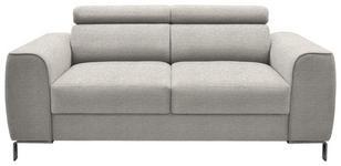 ZWEISITZER-SOFA Webstoff Hellgrau - Chromfarben/Hellgrau, Design, Textil/Metall (168/76-96/98cm) - Hom`in