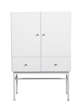 SKÅP - vit/mässingfärg, Modern, metall/trä (80/120/40cm) - Rowico