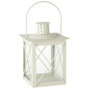 LATERNE - Weiß, Design, Glas/Metall (15/20/15cm) - Ambia Home