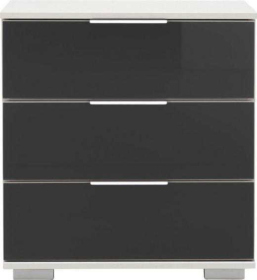 NACHTKÄSTCHEN Schwarz, Weiß - Chromfarben/Schwarz, Design, Glas/Kunststoff (52/58/38cm) - CARRYHOME