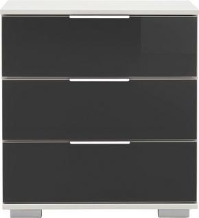SÄNGBORD - vit/alufärgad, Design, metall/glas (52/58/38cm) - Low Price