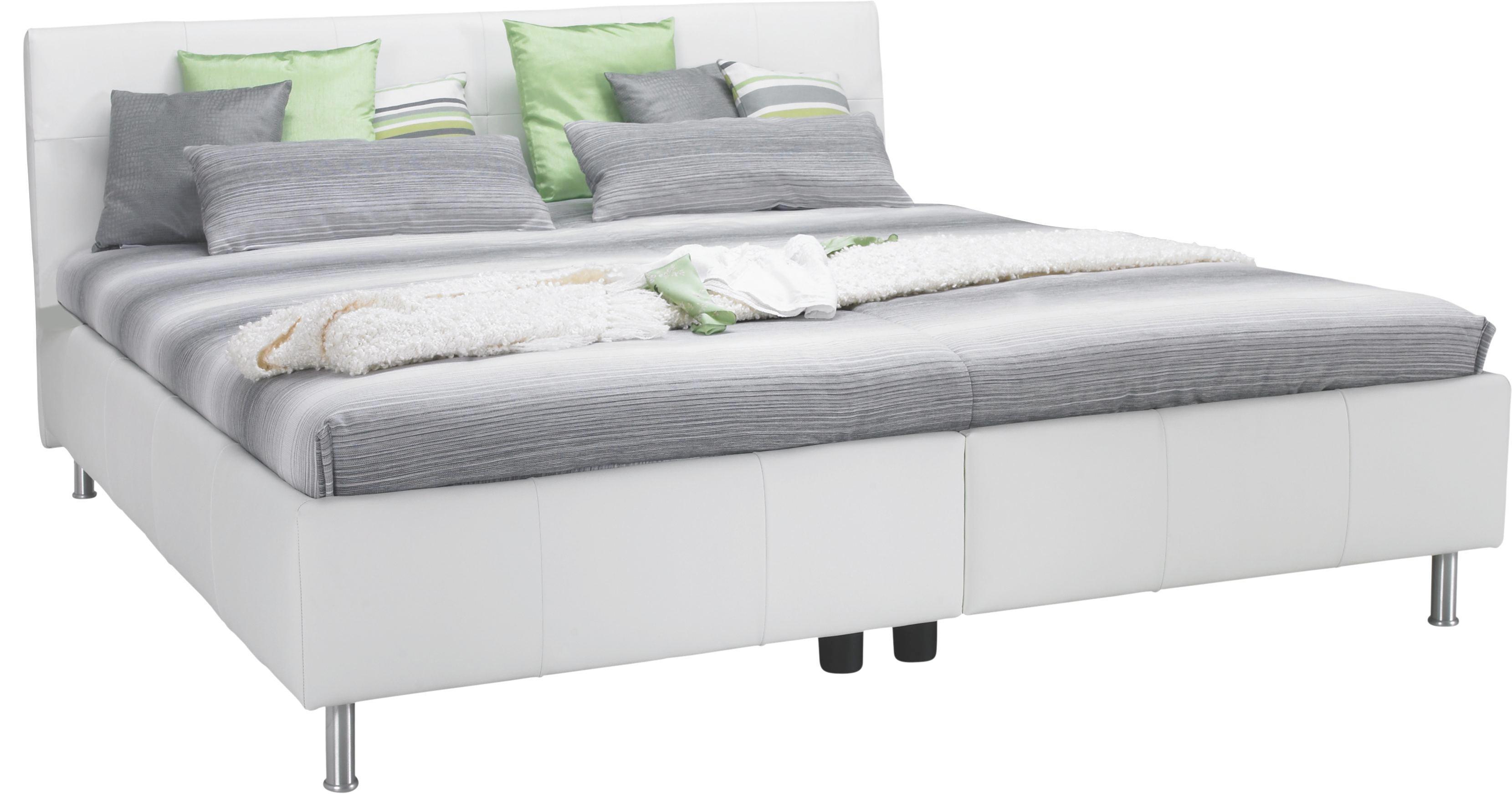 POLSTERBETT 180 cm   x 200 cm   in Leder Weiß - Alufarben/Weiß, KONVENTIONELL, Leder/Textil (180/200cm) - ADA AUSTRIA