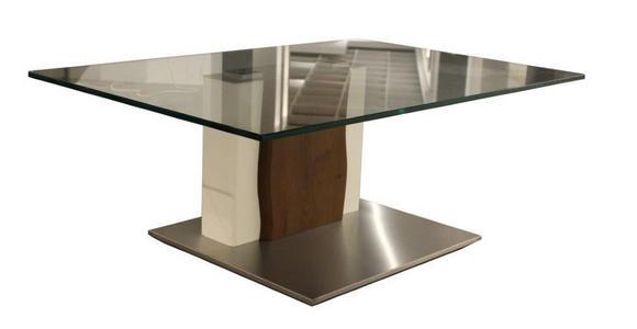 COUCHTISCH in Holz, Metall, Glas, Holzwerkstoff 110/75/43 cm  - Edelstahlfarben/Dunkelbraun, Design, Glas/Holz (110/75/43cm) - Moderano