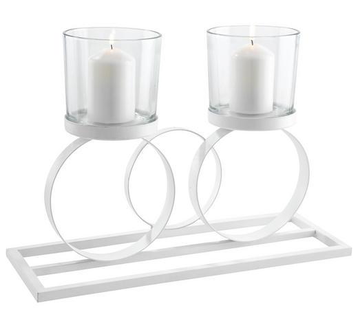 TEELICHTHALTER - Transparent/Weiß, Design, Glas/Metall (41,8/15/29cm) - Ambia Home