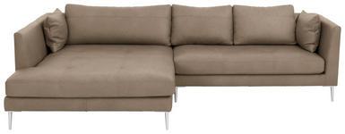 WOHNLANDSCHAFT Echtleder Rücken echt, Rückenkissen, Zierkissen - Chromfarben/Grau, Design, Leder (180/280cm) - Voleo