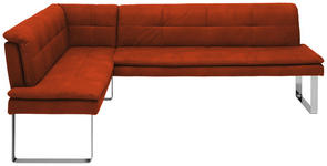 ECKBANK 154/213 cm  in Orange, Chromfarben  - Chromfarben/Beige, Design, Textil/Metall (154/213cm) - Novel