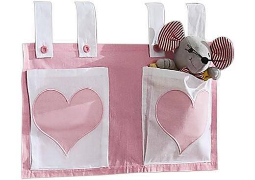 BETTTASCHE Rosa, Weiß - Rosa/Weiß, Design, Textil