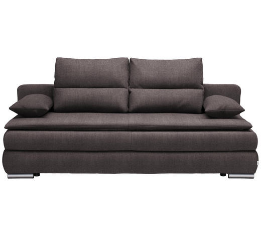 SCHLAFSOFA in Textil Grau, Silberfarben - Silberfarben/Grau, KONVENTIONELL, Kunststoff/Textil (207/94/90cm) - Venda
