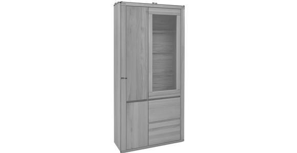 VITRINE Eiche furniert, massiv Eichefarben - Eichefarben/Grau, KONVENTIONELL, Glas/Holz (98,4/203,6/37,7cm) - Voleo