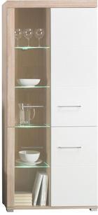 VITRINSKÅP - vit/Sonoma ek, Design, metall/glas (87/201/38cm) - Carryhome