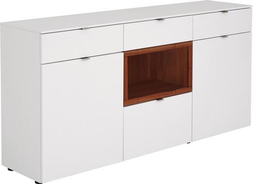 SIDEBOARD Nussbaum massiv geölt, Mattlack Nussbaumfarben, Weiß - Nussbaumfarben/Alufarben, Design, Holz/Kunststoff (180/88/43cm) - Venjakob