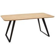 JEDILNA MIZA, masivno divji hrast črna, hrast  - črna/hrast, Design, kovina/les (180/90/76cm) - Voleo