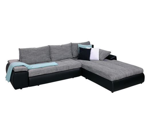 SJEDEĆA GARNITURA - siva/crna, Design, tekstil/plastika (310/210cm) - Boxxx