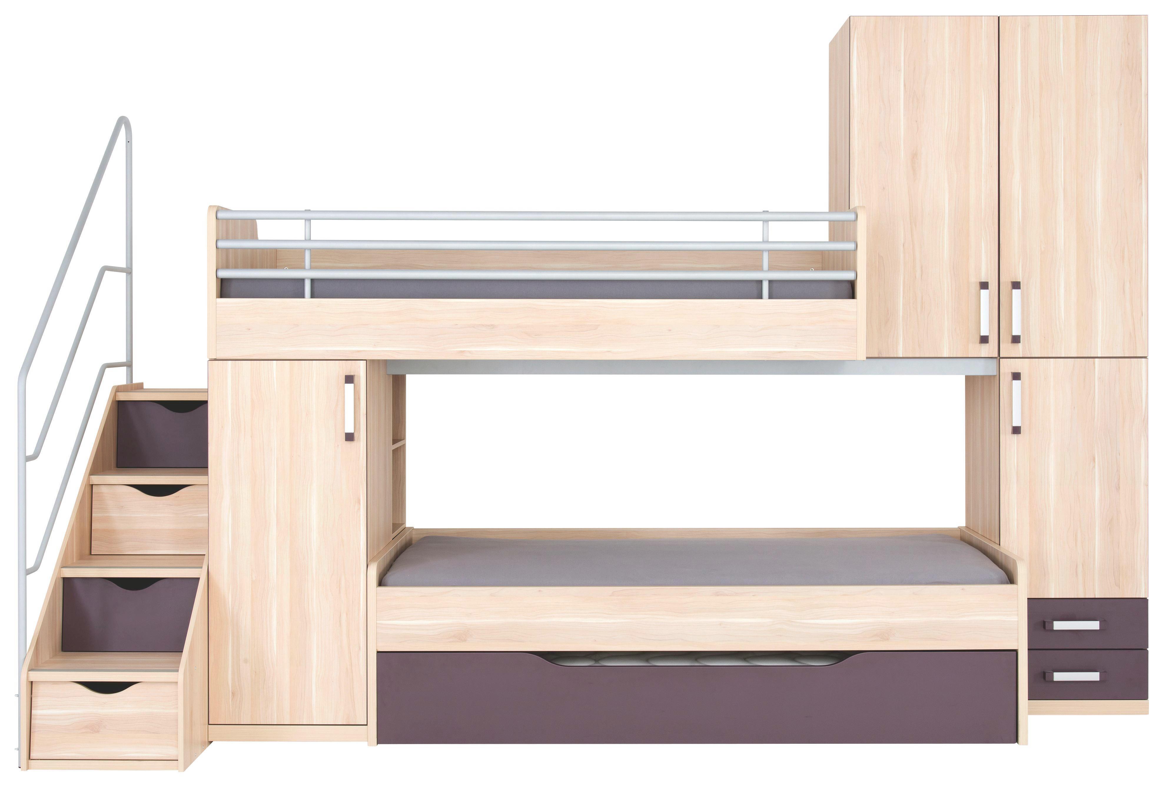 JUGENDZIMMER - Apfelbaumfarben/Aubergine, KONVENTIONELL, Holzwerkstoff (356/235/132cm) - PRENNEIS