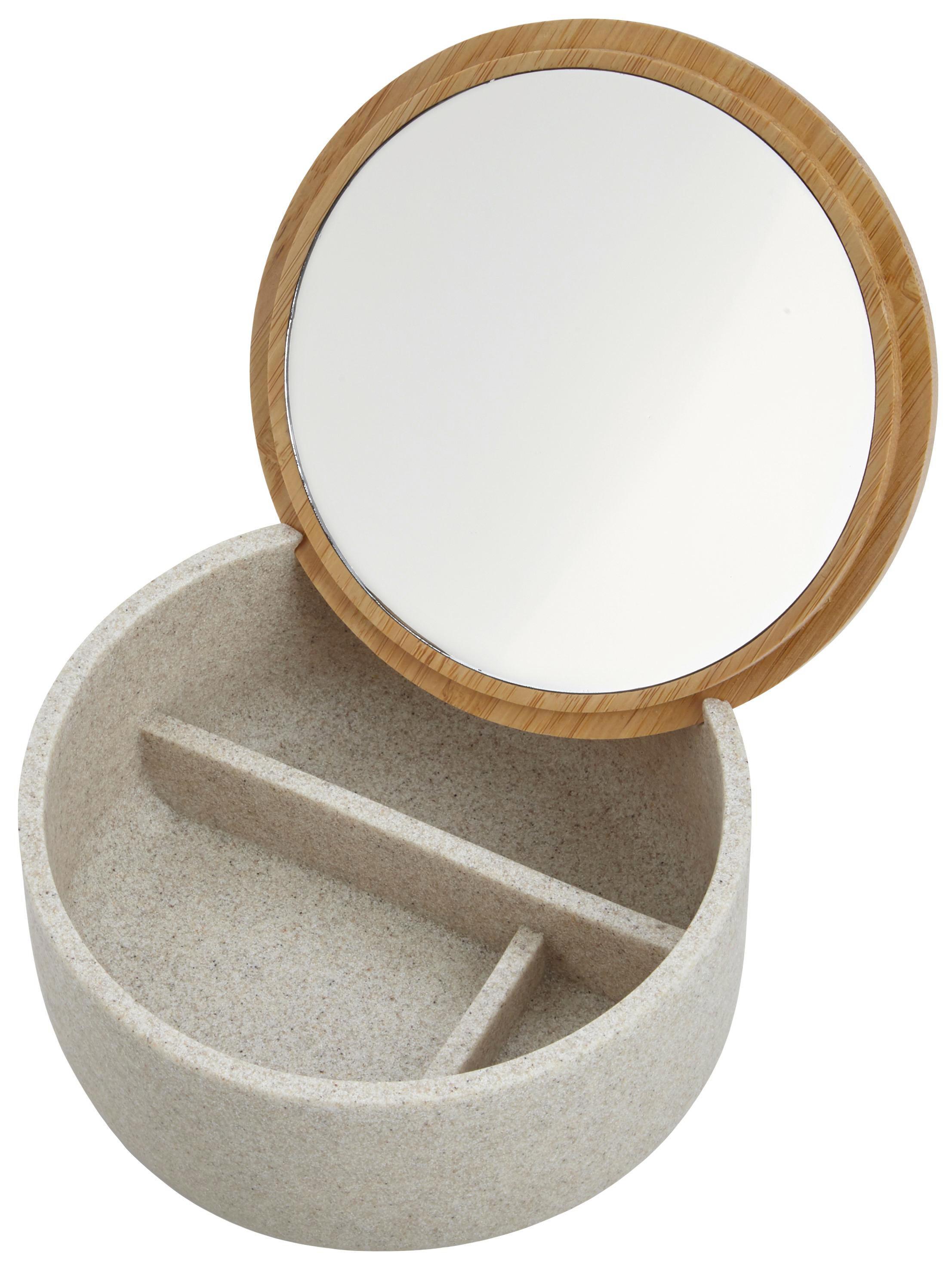 KOSMETICKÁ DÓZA - šedá, Basics, dřevo/umělá hmota (13,5/6,5/13,5cm) - CELINA