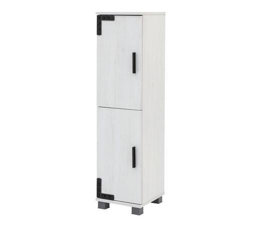 SEITENSCHRANK Weiß  - Schwarz/Weiß, LIFESTYLE, Holzwerkstoff/Kunststoff (31/117/33cm) - Stylife
