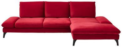 WOHNLANDSCHAFT in Textil Rot - Rot/Schwarz, Design, Textil/Metall (338/176cm) - Voleo