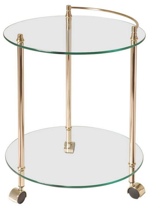 SERVIERWAGEN Glas, Metall Goldfarben - Goldfarben, KONVENTIONELL, Glas/Kunststoff (45/60cm)