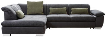 WOHNLANDSCHAFT Chenille Kopfteilverstellung, Rücken echt, Sitztiefenverstellung - Chromfarben/Dunkelgrau, Design, Textil (242/313cm) - XORA