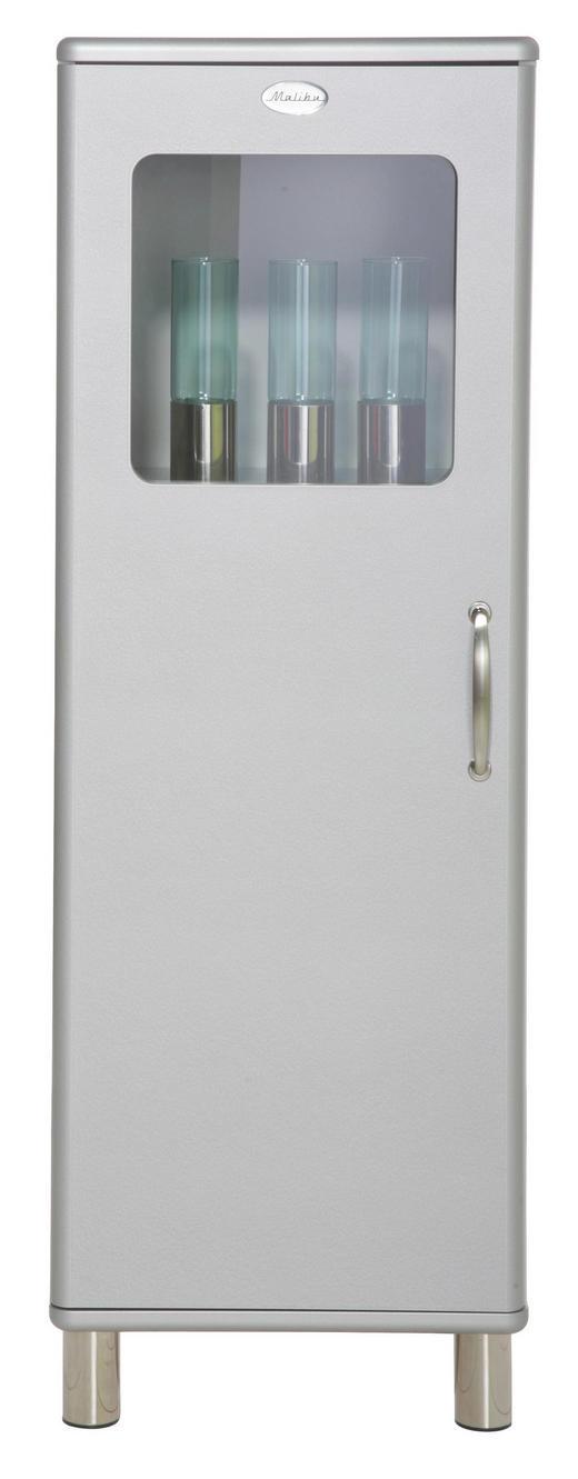 HIGHBOARD lackiert, Melamin Silberfarben - Silberfarben/Nickelfarben, Design, Glas/Holzwerkstoff (50/143/41cm) - Carryhome