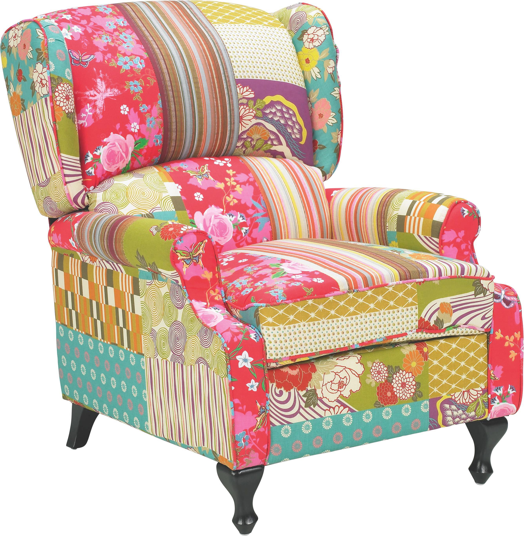 OHRENSESSEL Multicolor   Multicolor/Schwarz, ROMANTIK / LANDHAUS,  Holz/Textil (77