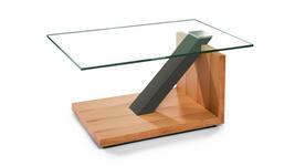 COUCHTISCH Kernbuche furniert rechteckig Taupe, Buchefarben  - Taupe/Buchefarben, Natur, Glas/Holz (90/60/44cm) - Novel
