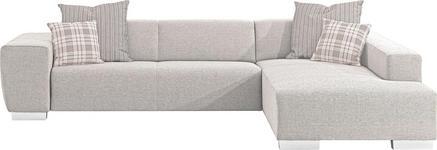 WOHNLANDSCHAFT in Hellbraun Textil - Chromfarben/Hellbraun, Design, Textil/Metall (298/192cm) - Xora