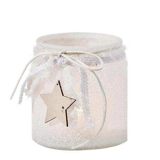 TEELICHTHALTER - Weiß, Basics, Glas/Holz (11/12cm) - X-Mas
