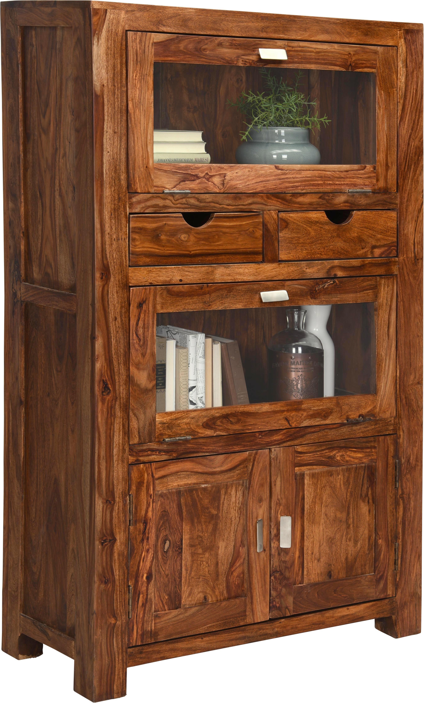 VITRINE In Massiv Sheesham Sheeshamfarben   Silberfarben/Sheeshamfarben,  LIFESTYLE, Glas/Holz (