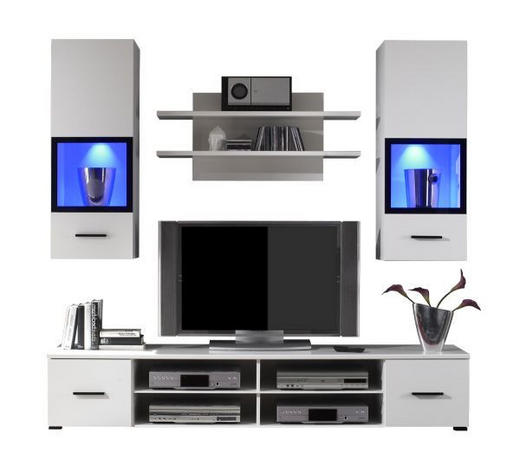 REGAL ZA DNEVNI BORAVAK bijela   - bijela/crna, Design, staklo/drvni materijal (200/185/45cm) - Boxxx