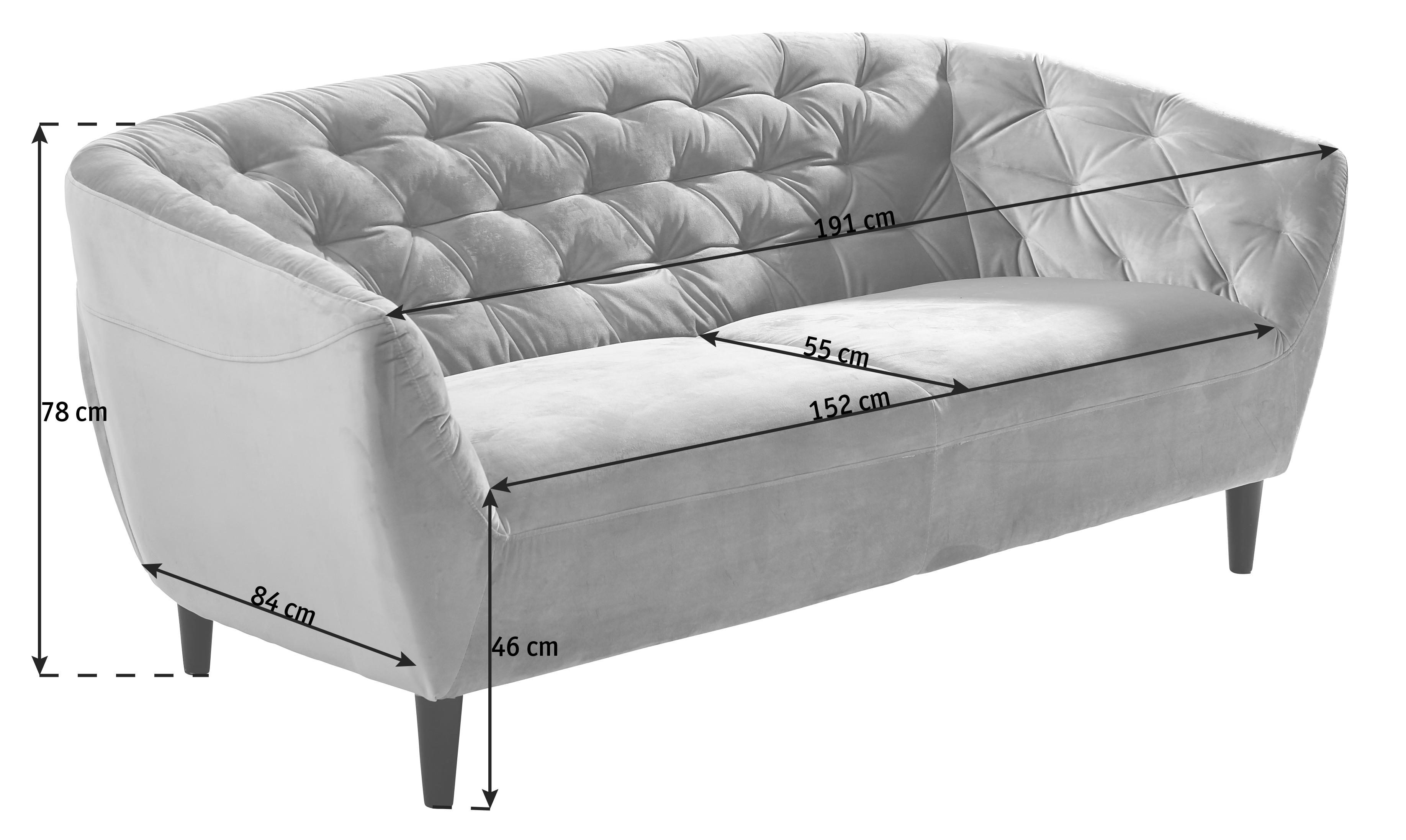 CHESTERFIELD-SOFFA - mörkgrå/svart, Trend, trä/textil (191/78/84cm) - Ambia Home