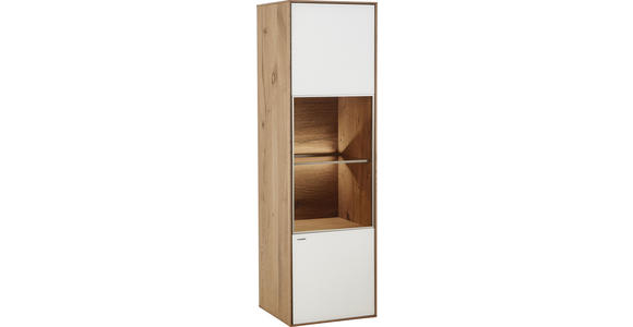 HÄNGEELEMENT Kerneiche vollmassiv Weiß, Eichefarben  - Eichefarben/Weiß, Design, Glas/Holz (40,5/136,5/39cm) - Valnatura