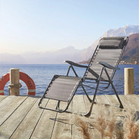 VRTNA RELAKS STOLICA - boje srebra/antracit, Design, metal/tekstil (91/64/110cm) - Ambia Garden