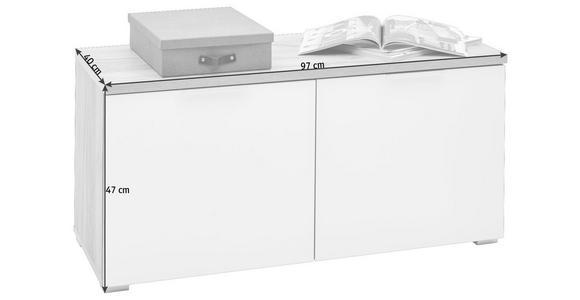GARDEROBENBANK 97/47/40 cm - Eichefarben/Alufarben, Design, Glas/Holzwerkstoff (97/47/40cm) - Voleo