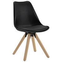 STUHL Lederlook Eiche massiv Schwarz, Eichefarben  - Eichefarben/Schwarz, Design, Holz/Kunststoff (48/82/56cm) - Carryhome